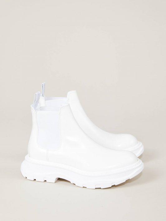 Alexander McQueen - Leder-Boots mit breiter Sohle Weiß