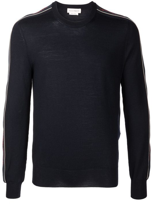 Alexander McQueen Pullover mit Logo-Streifen - Blau