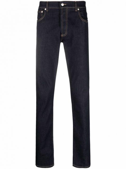 Alexander McQueen Slim-Fit-Jeans mit Logo-Stickerei - Blau