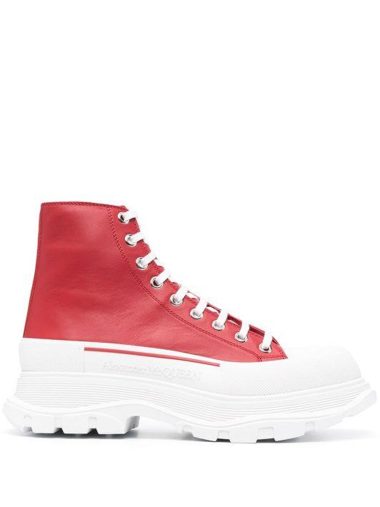 Alexander McQueen Tread Slick High-Top-Sneakers - Rot