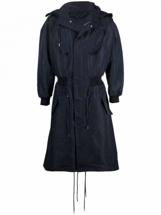 Alexander McQueen hooded hybrid bomber rain jacket - Blau