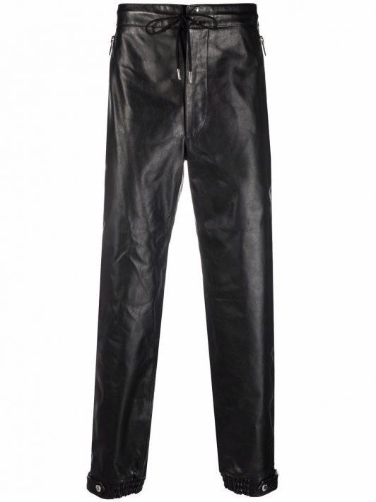 Alexander McQueen leather track pants - Schwarz
