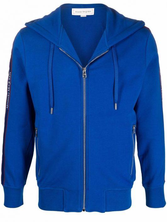 Alexander McQueen logo-trim hoodie - Blau