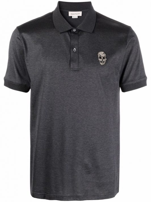 Alexander McQueen skull-detail short-sleeved polo shirt - Grau