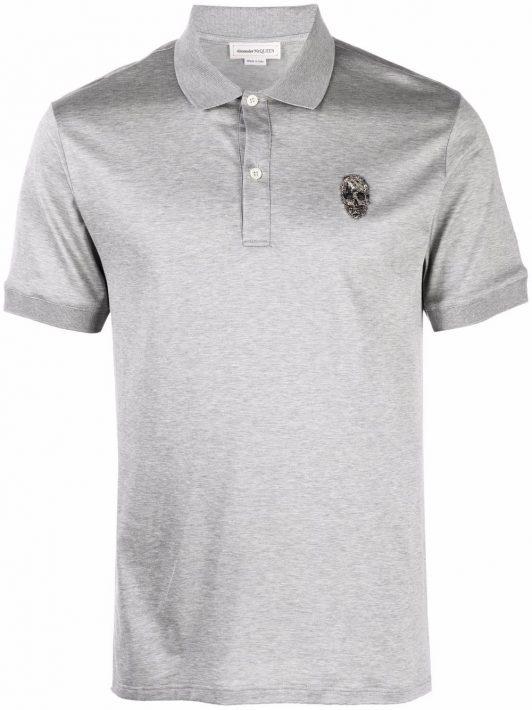 Alexander McQueen skull-embroidered polo shirt - Grau