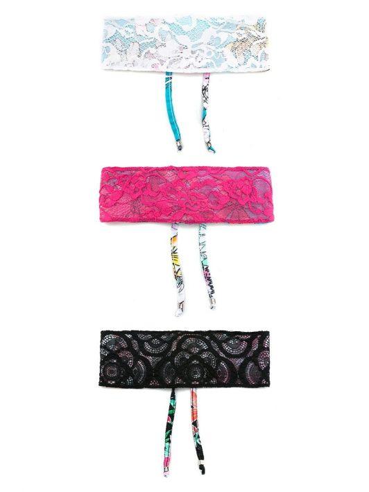 Amir Slama Set aus drei Stirnbändern mit Spitze - Mehrfarbig