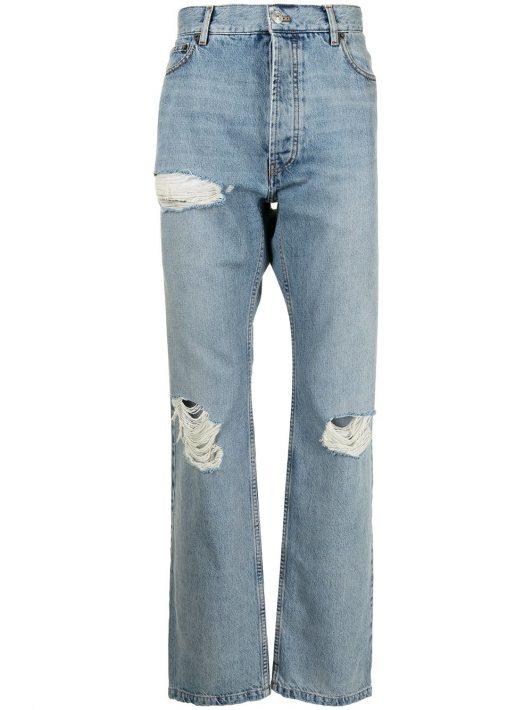 Balenciaga Destroyed Normal straight-leg denim jeans - Blau