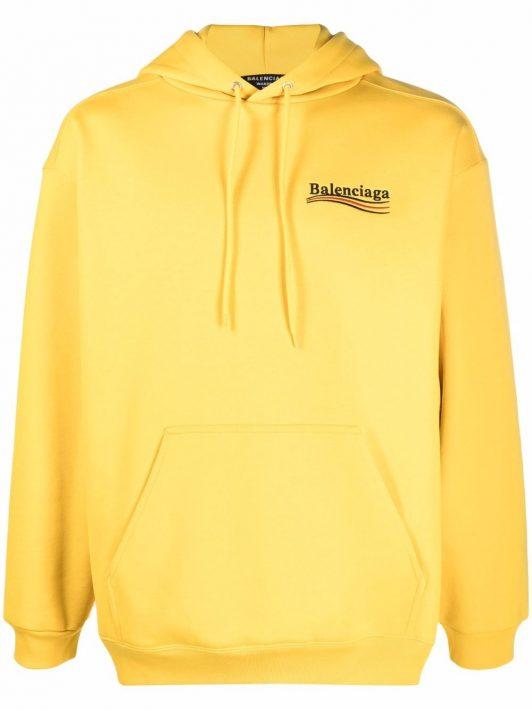 Balenciaga Hoodie mit Logo-Stickerei - Gelb