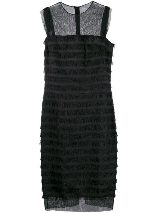 Balenciaga Pre-Owned 2000er Kleid mit Fransen - Schwarz
