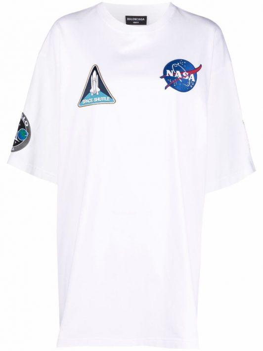 Balenciaga T-Shirt mit Patches - Weiß