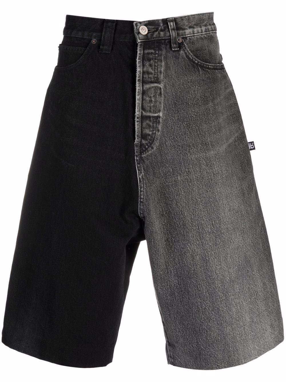 Balenciaga Zweifarbige Jeans-Shorts - Grau