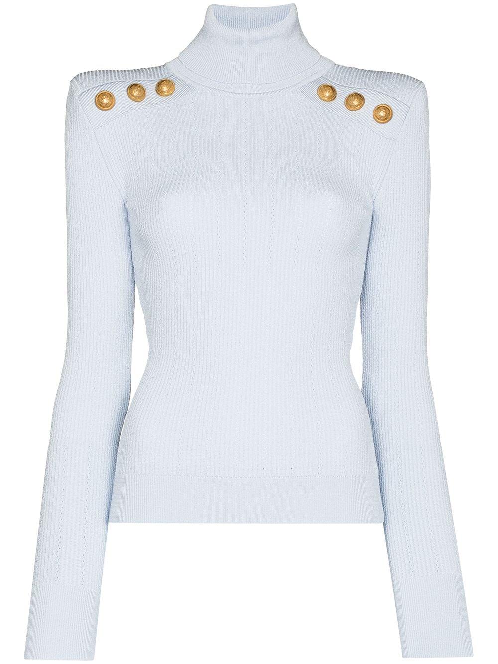 Balmain button-embellished roll neck jumper - Blau