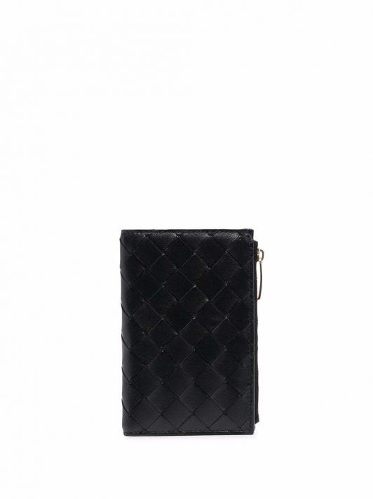 Bottega Veneta Gewebtes Portemonnaie mit Reißverschluss - Schwarz
