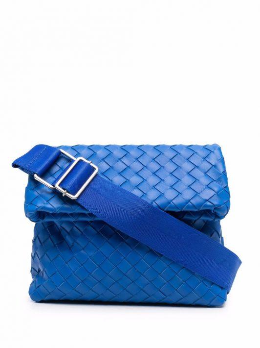 Bottega Veneta Kuriertasche mit Intrecciato-Muster - Blau