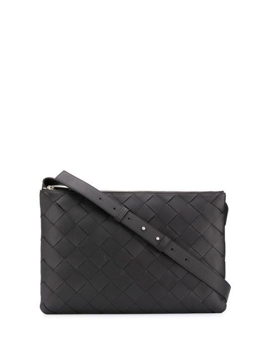 Bottega Veneta Kuriertasche mit Intrecciato-Muster - Schwarz