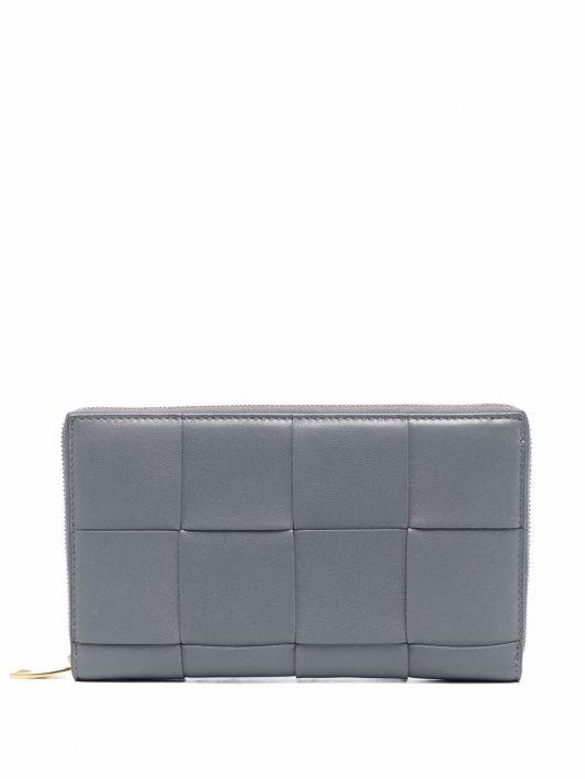 Bottega Veneta Portemonnaie mit Intrecciato-Muster - Grau