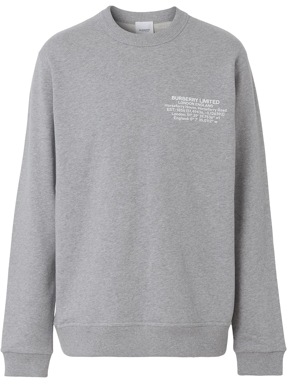 Burberry Location-print cotton sweatshirt - Grau