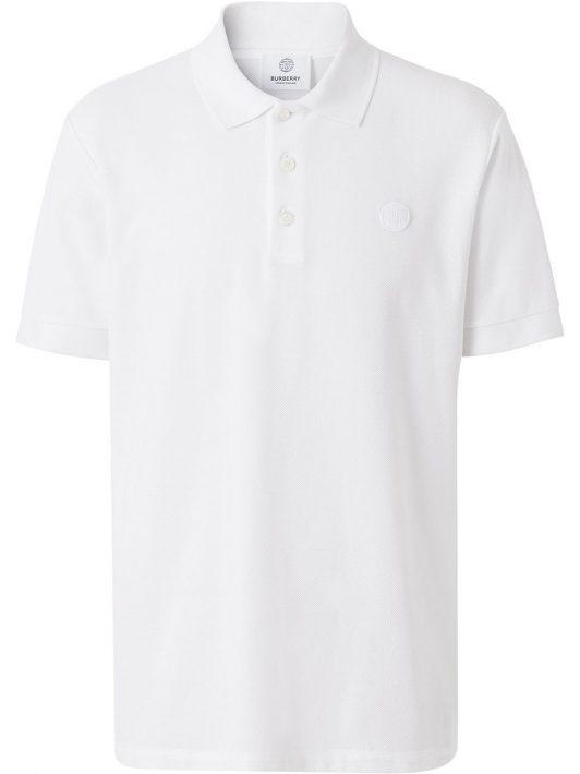 Burberry monogram-embroidered polo shirt - Weiß