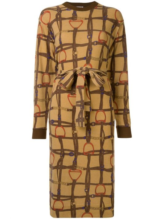 Céline Pre-Owned Kleid mit Steigbügel-Print - Braun