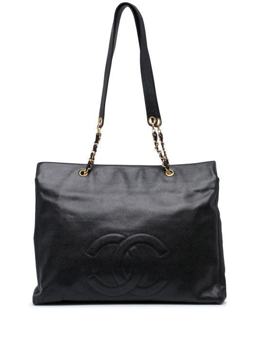 Chanel Pre-Owned 1997 XL Jumbo Schultertasche mit CC - Schwarz