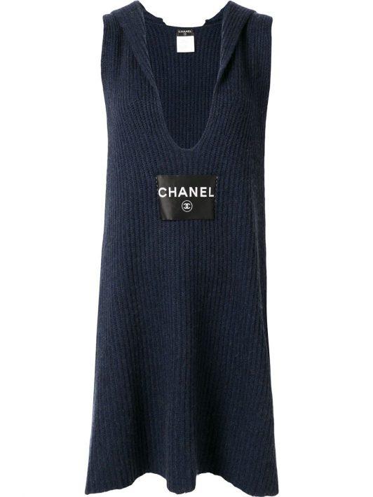 Chanel Pre-Owned Gestricktes Kleid - Blau