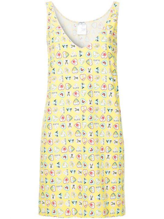 Chanel Pre-Owned Kleid mit Herz-Print - Gelb
