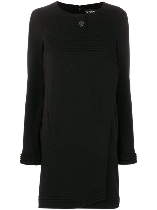 Chanel Pre-Owned Kleid mit gerippten Details - Schwarz