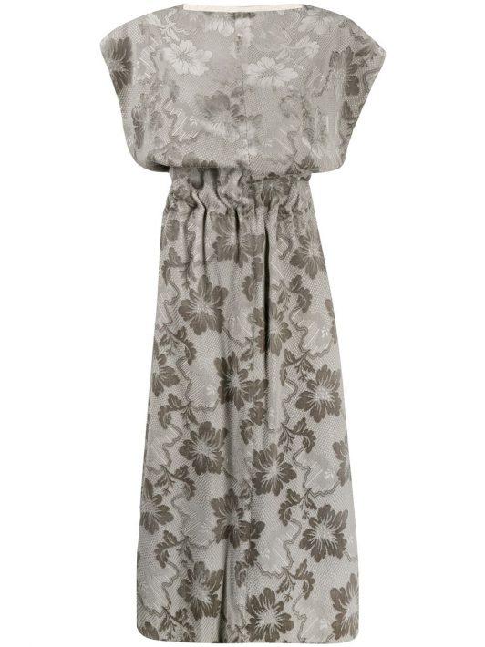 Comme Des Garçons Pre-Owned 1996s Jacquard-Kleid mit Blumenmuster - Grau