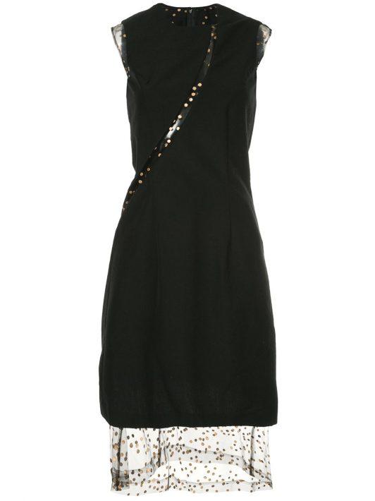 Comme Des Garçons Pre-Owned A-Linien-Kleid mit transparentem Einsatz - Schwarz