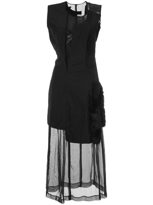 Comme Des Garçons Pre-Owned Kleid mit Kunstfellbesatz - Schwarz