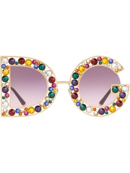 Dolce & Gabbana Eyewear Sonnenbrille mit Kristallen - Violett