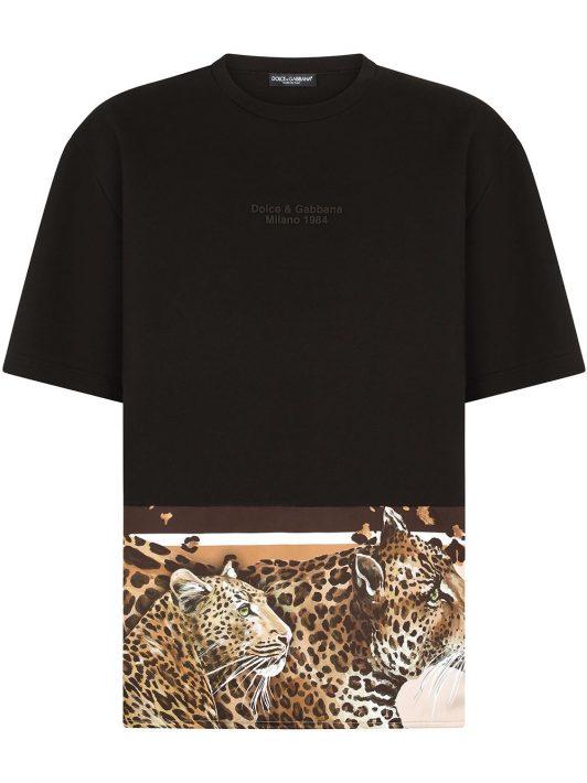 Dolce & Gabbana T-Shirt mit Leopardensaum - Schwarz