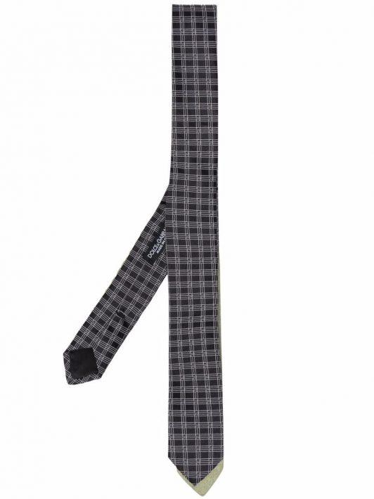 Dolce & Gabbana check-print silk tie - Schwarz