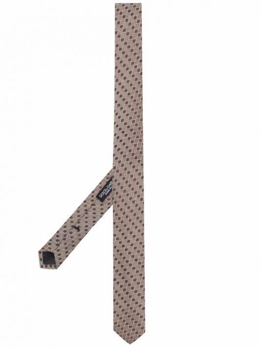 Dolce & Gabbana diamond-print silk tie - Braun