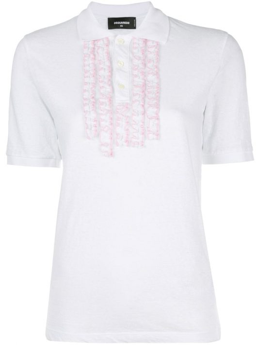 Dsquared2 Poloshirt mit Rüschen - Weiß