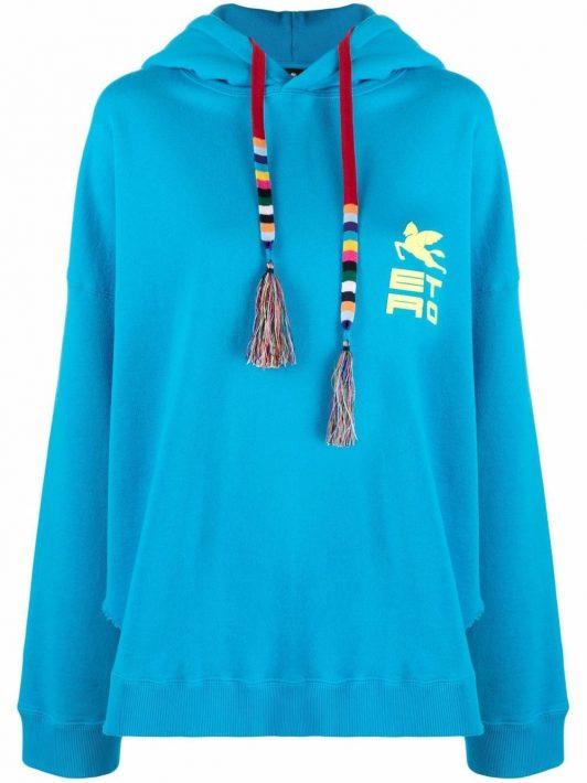 ETRO chest logo-print hoodie - Blau