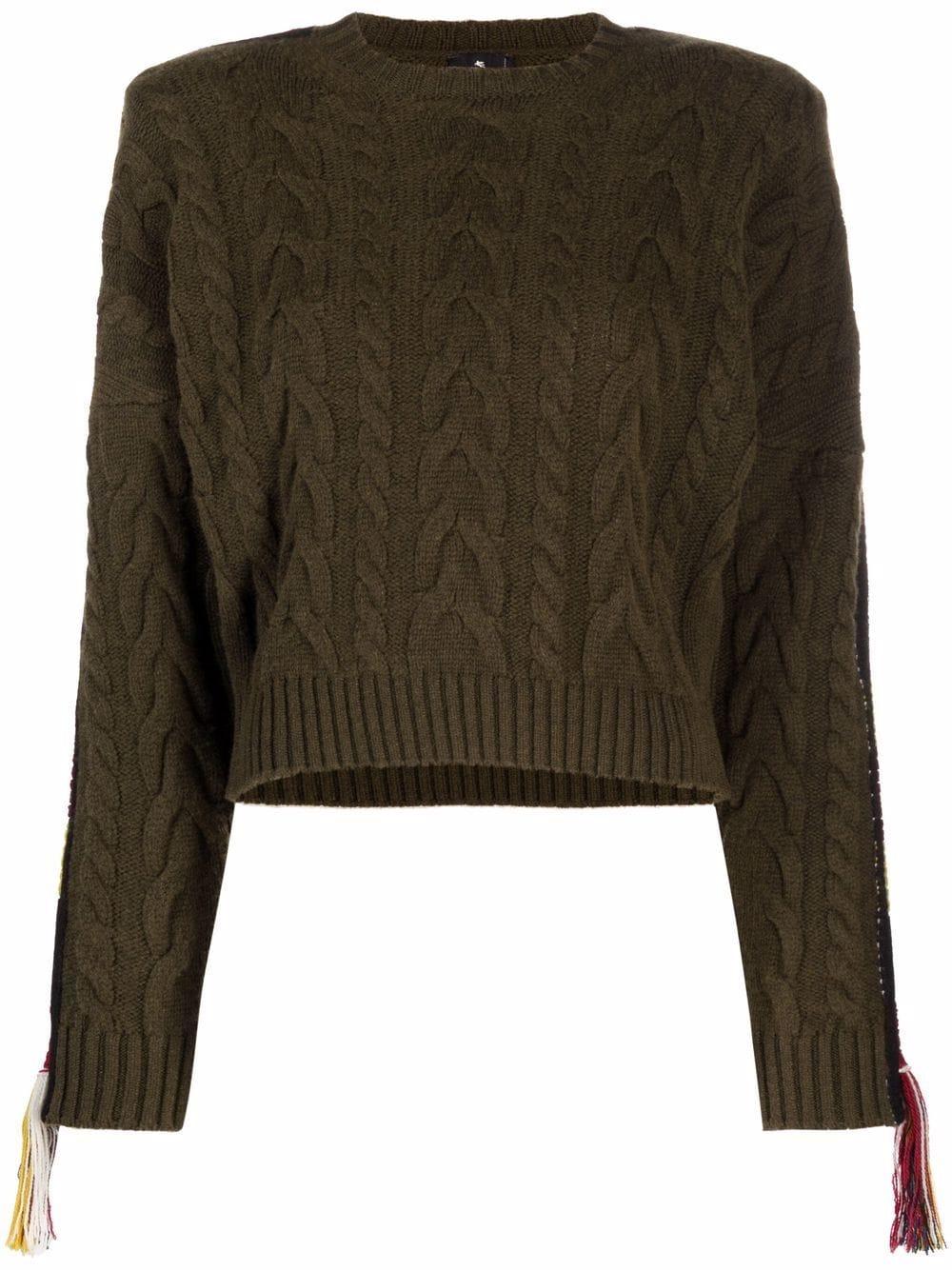 ETRO panelled cable-knit jumper - Grün