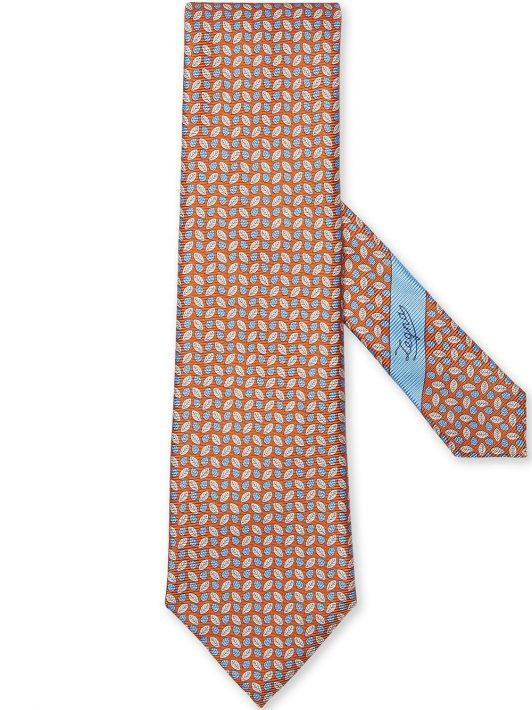 Ermenegildo Zegna leaf-print silk tie - Orange