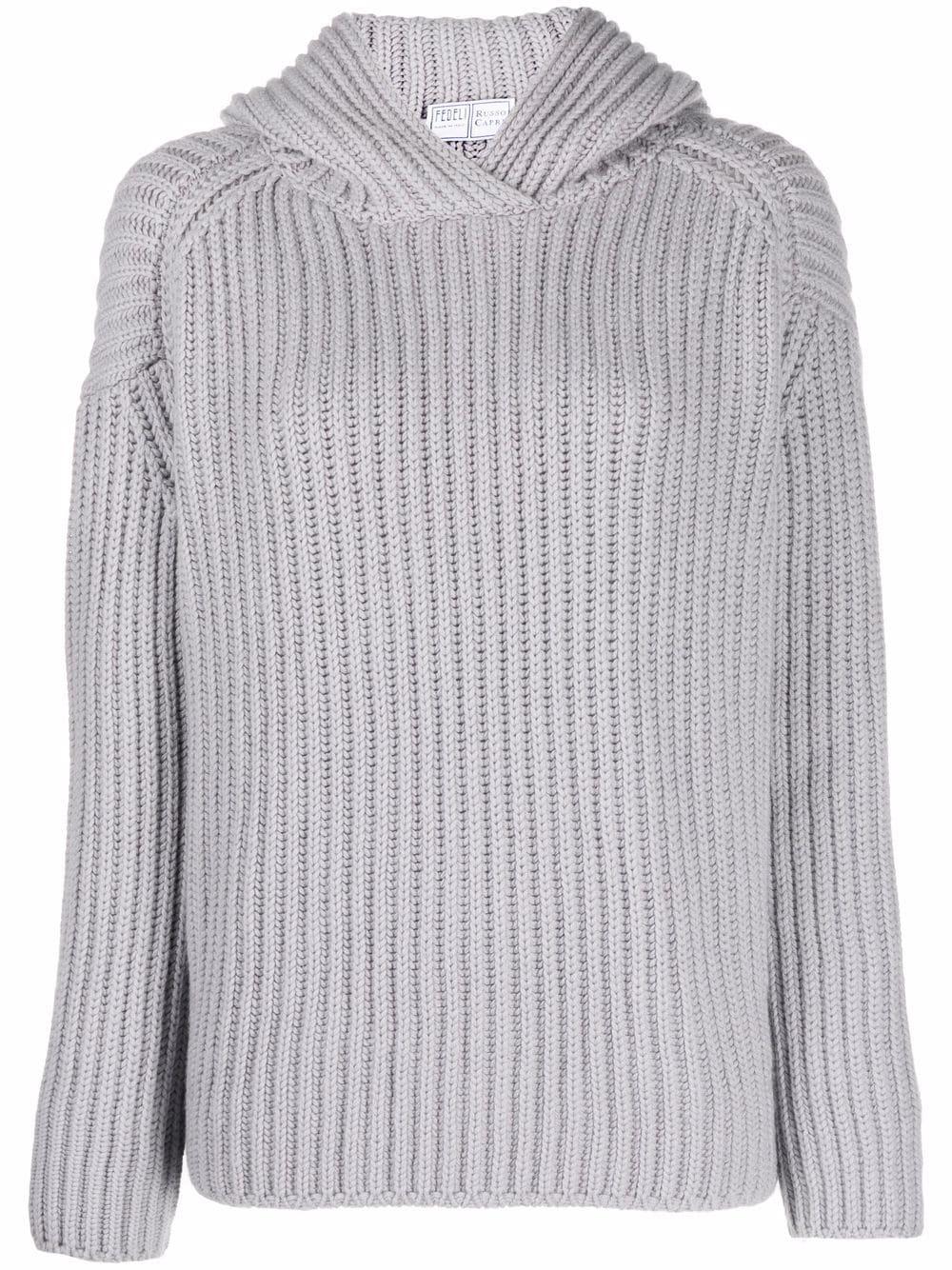 Fedeli rib knit hooded jumper - Grau