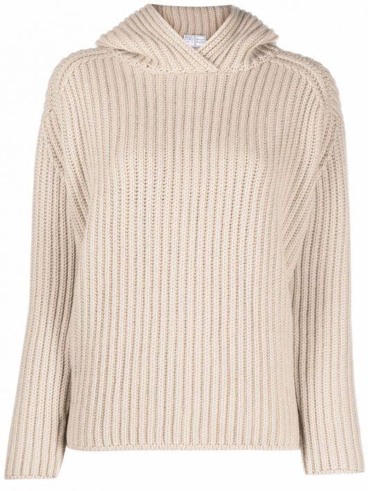 Fedeli rib-knit hooded jumper - Nude