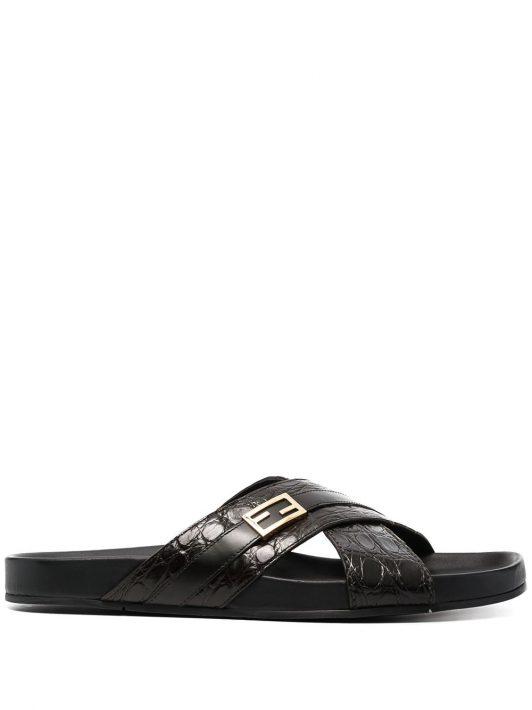 Fendi Sandalen mit überkreuzten Riemen - Braun