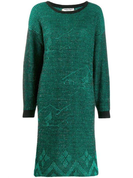 Giorgio Armani Pre-Owned 1980er 'Armani' Kleid - Grün