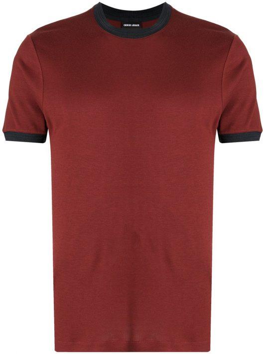 Giorgio Armani short-sleeved two-tone T-shirt - Rot