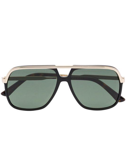 Gucci Eyewear GUCCI RECT METAL SUNGLASSES BLACK - Schwarz