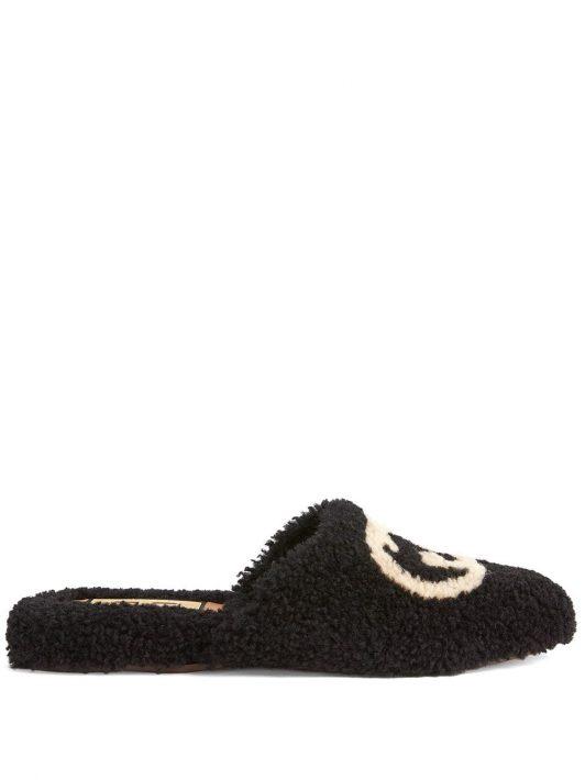 Gucci Interlocking G merino slippers - Schwarz
