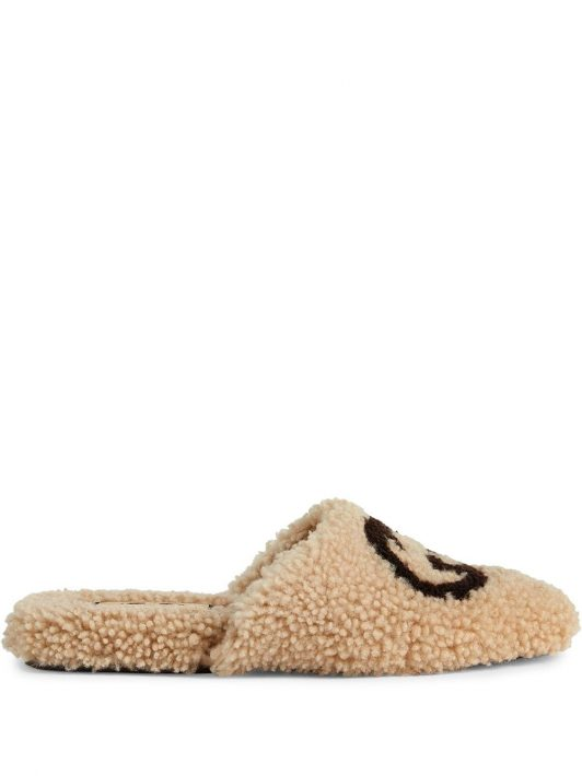 Gucci Interlocking G shearling flat slippers - Nude