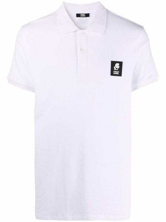 Karl Lagerfeld logo-patch cotton polo shirt - Weiß
