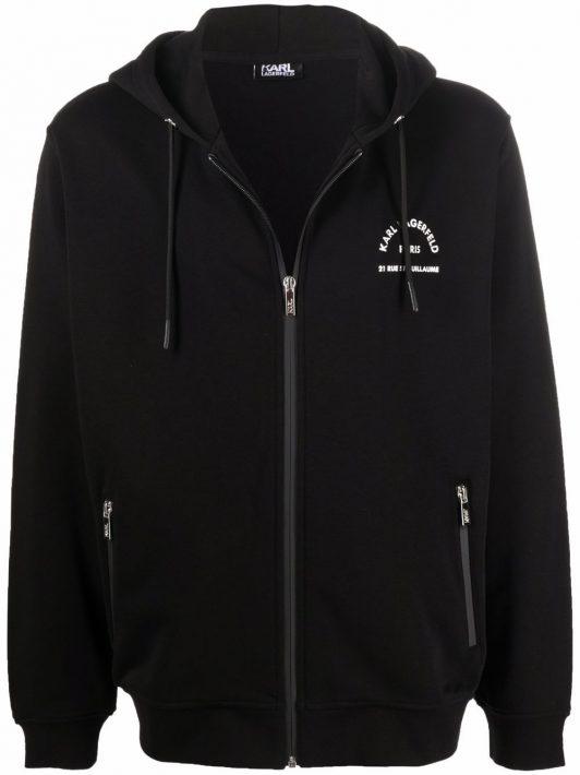 Karl Lagerfeld logo print zip-up hoodie - Schwarz