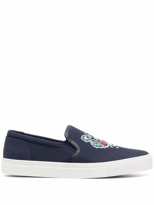 Kenzo Flatform-Loafer mit Logo-Stickerei - Blau