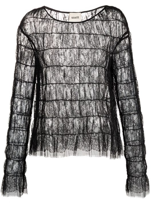 Khaite Bluse aus floraler Spitze - Schwarz